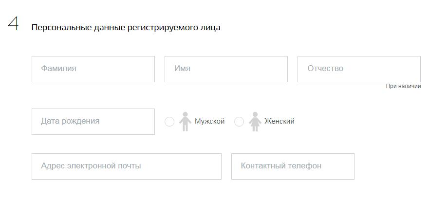 Персональные данные регистрируемого лица